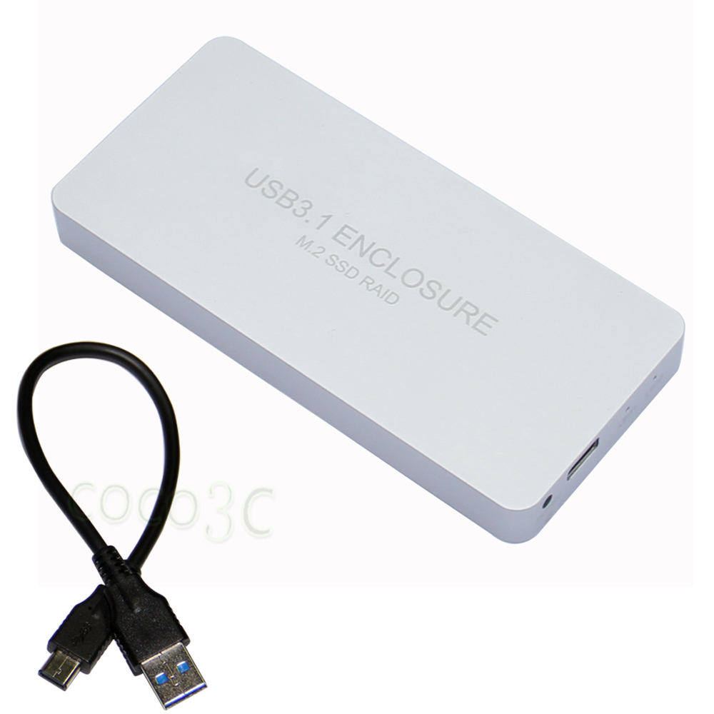 USB3.1 Type-C to 2 M.2 SSD RAID Enclosure USB-C to Dual NGFF adapter M.2 SSD External Box + RAID0 RAID1