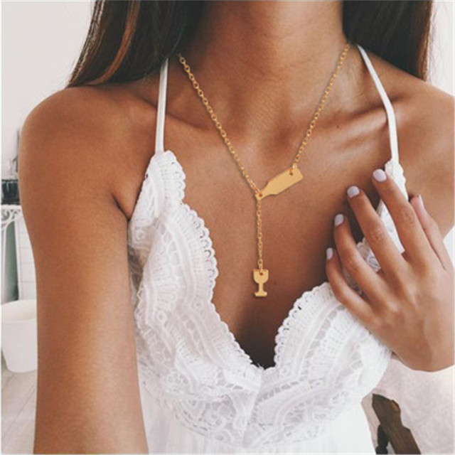 ZHIMO Simpl Fashion Minimalism Goblet Wine Cup Pendant Gold Silver Chain Long Necklace for Women Men