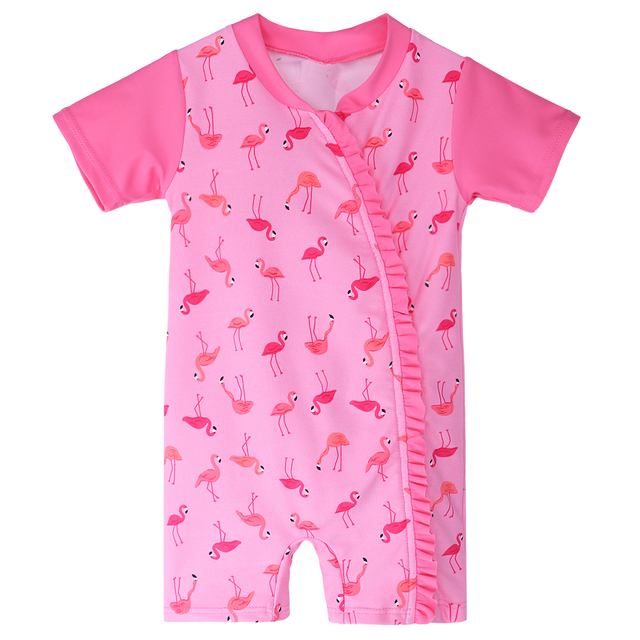 3bc4192f50f92 BAOHULU 6 Month-3 Years Toddler Girls Swimwear Infant Baby Bathing Suit Kids  One Pieces Swimsuit with Flamingos Pattern 2018