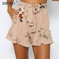 Sibybo נשים מכנסי מותן גבוהות מכנסיים קצרים לפרוע פרחוני קיץ סקסי Feminino הקצר Ruched שיפון מכנסיים עם חגורת