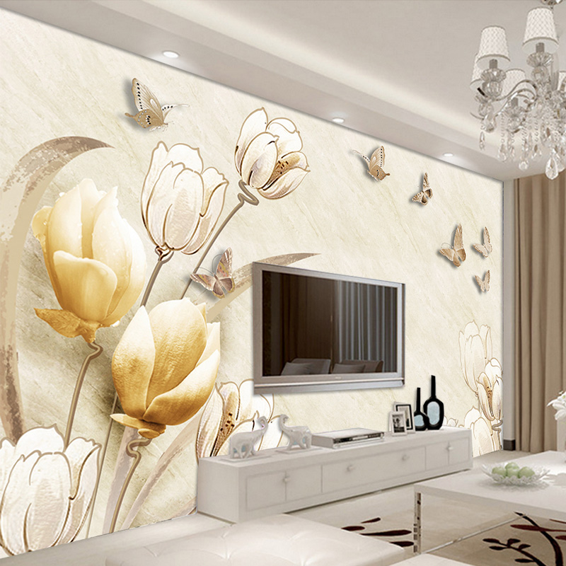 Custom Photo Wallpaper Mural Wall Sticker European 3D Stereo Magnolia Flower TV Wall papel de parede wallpapers for living room classic household black 3d photo wallpaper for walls in rolls papel de parede living room tv exfoliator wall mural stickers