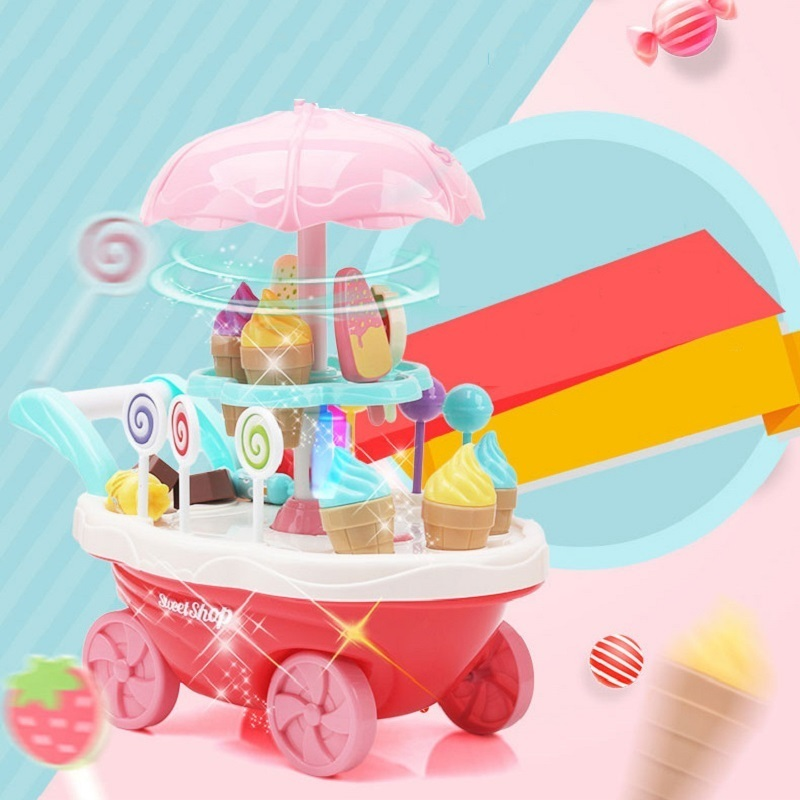 Pretend Play Kitchen Toys For Children Oyuncak Super Funny Mini Icecream Candy Car 30PCS With Light Music Rotatable Toy For 39