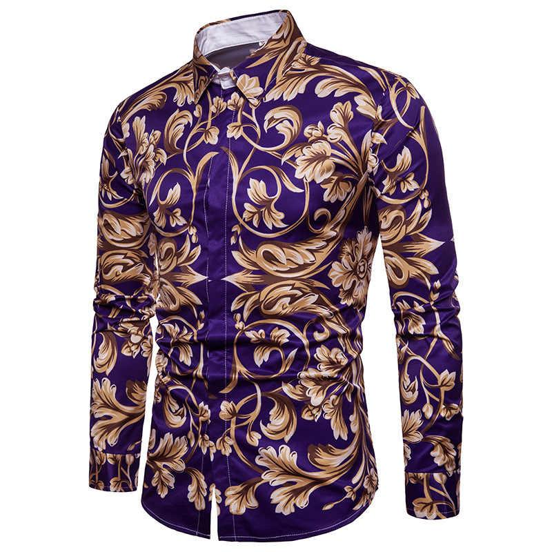 Männer Hemd Social Club Hemd 2018 Herbst Neue Luxus Barock Shirts Camisa Hombre Slim Fit Langarm Kleid Shirt Chemise homme