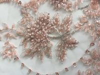 3 yards nude pink heavy beaded lace fabric, super delicat beads lace fabric, vintage style bridal lace fabric, beading cord lace