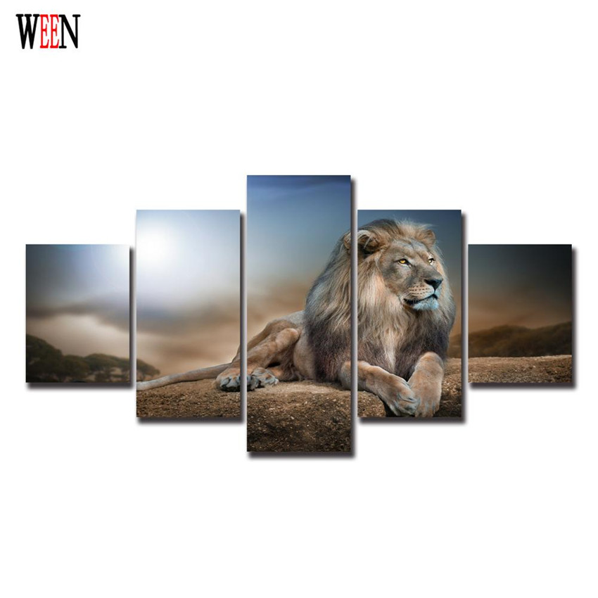 Hd Printed Animals Lion Group Canvas Painting Home Decor