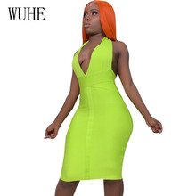 цена WUHE Hollow Out Women Summer Bodycon Bandage Dress Sexy Halter V Neck Backless Club Dress Vestidos Celebrity Night Party Dresses в интернет-магазинах