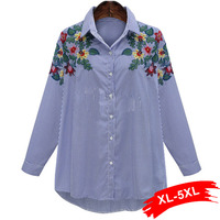 Plus Size Elegant Floral Embroidery Striped Shirts 4Xl 5Xl Turn-Down Collar Blouse Ladies Sweet Casual Tops Blusas