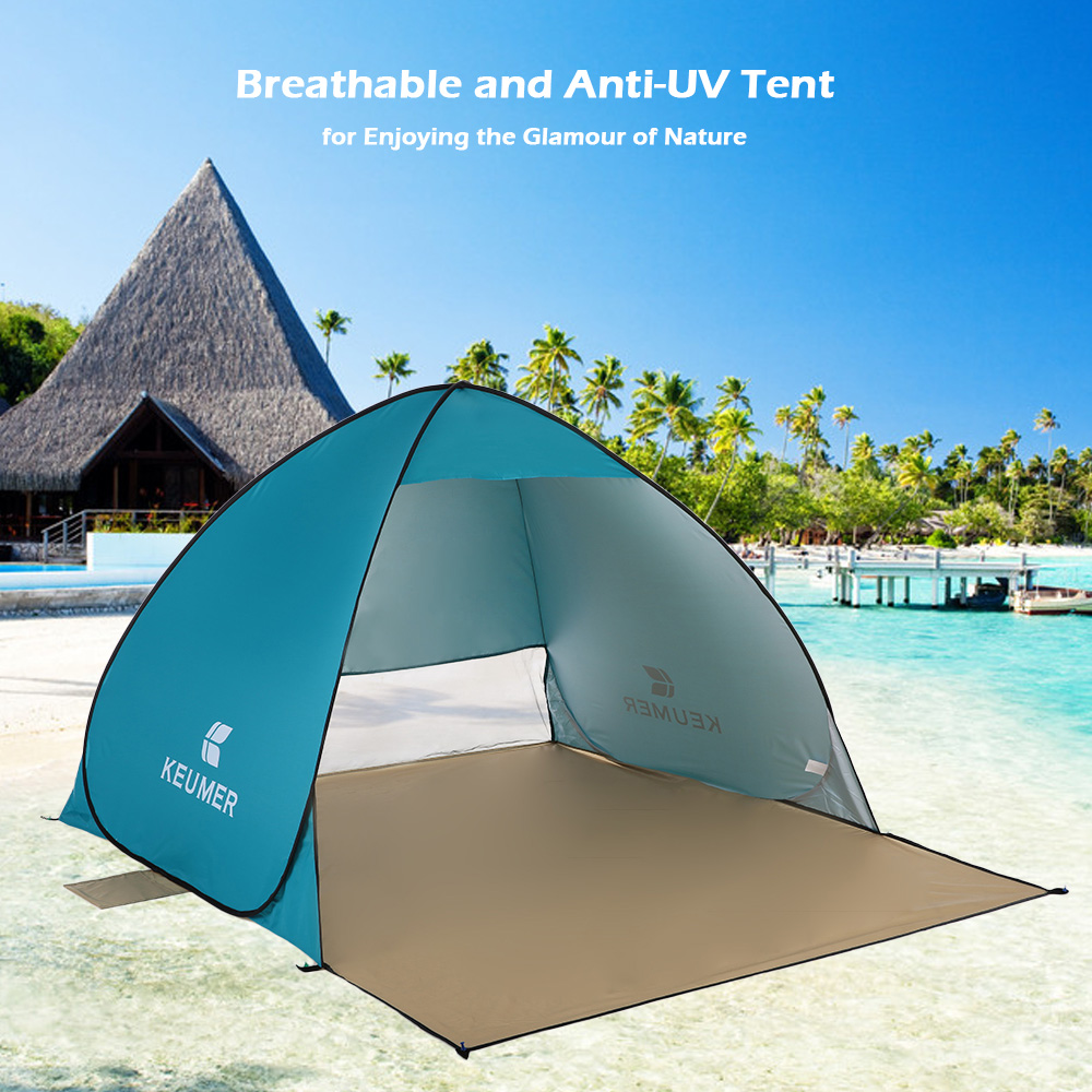 KEUMER Beach Tent Pop Up Open Camping Tent Fishing 2 Persons Outdoor Automatic Instant Portable Anti UV Sunshelter Awning Tents