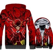 цена на The Flash Jacket Men Super Hero Hoodie Graphics Design Hooded Sweatshirt Winter Thick Fleece Zip up 3D Print Coat Red Streetwear