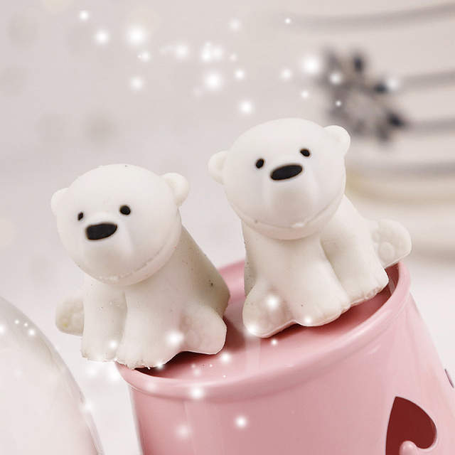 3pcs Cute Creative Animal Polar Bear Design Drawing Pencil Rubber Eraser School Stationery Supplies For Kids Toys Prize Gift