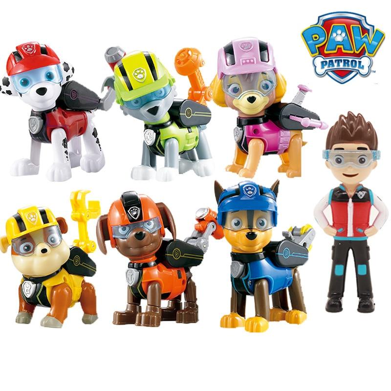 7pcs set Paw Patrol Toys Dog Can Deformation Toy Captain Ryder Pow Patrol Psi Patrol Action