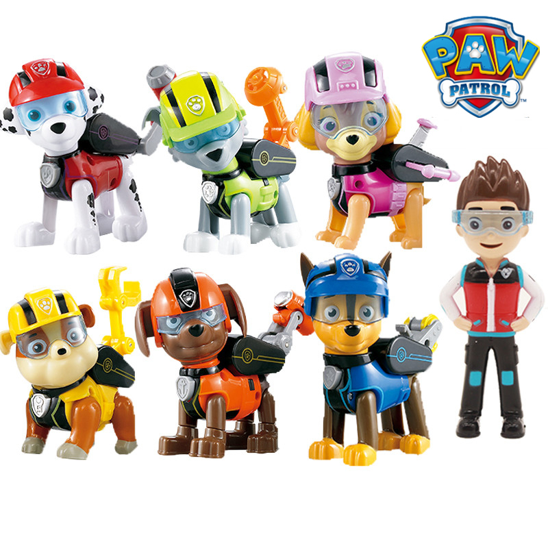 7pcs/set Paw Patrol Toys Dog Can Deformation Toy Captain Ryder Pow Patrol Psi Patrol Action Figures Toys for Children Gifts
