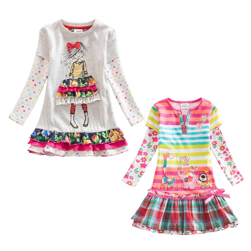 VIKITA Dresses for Girls Cotton Kids Flower Print Dress Children Baby Dresses Long Sleeve O-neck Girls Dresses 2pc/lot F5061 Mix toddlers girls dots deer pleated cotton dress long sleeve dresses page 8