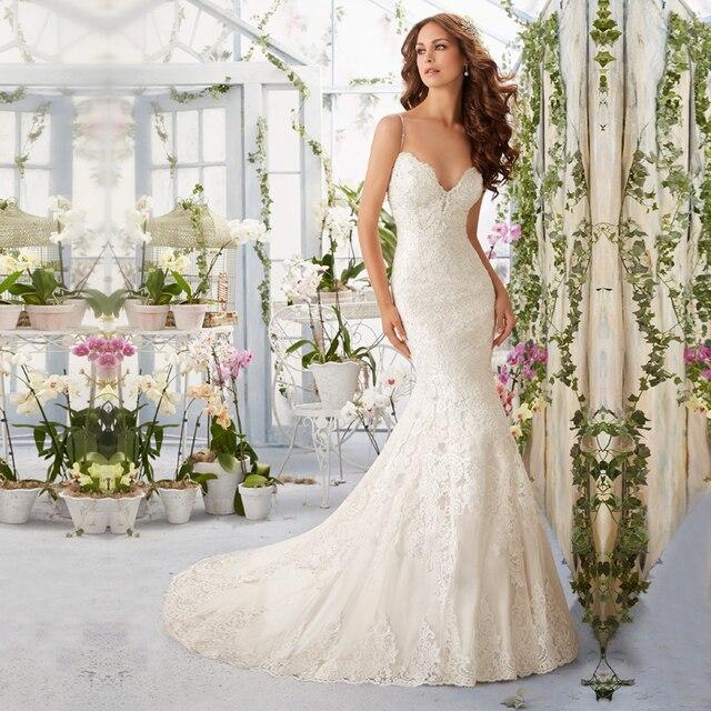 vestido de novia Appliques lace Mermaid long wedding dresses turkey ...