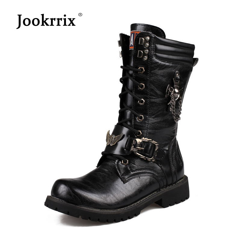 Jookrrix 2018 Autumn footware New Shoes Men Fashion Brand Martin Boots Soft Male Winter Mid Calf Boots uomo Military Boots Warm