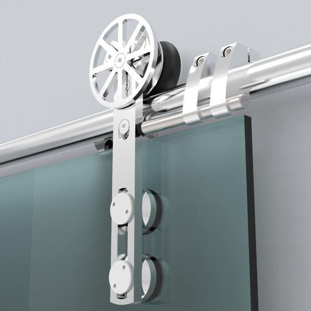 6.6FT Modern European Stainless Steel Glass Sliding Barn Door Hardware  Track Set Kit New Design
