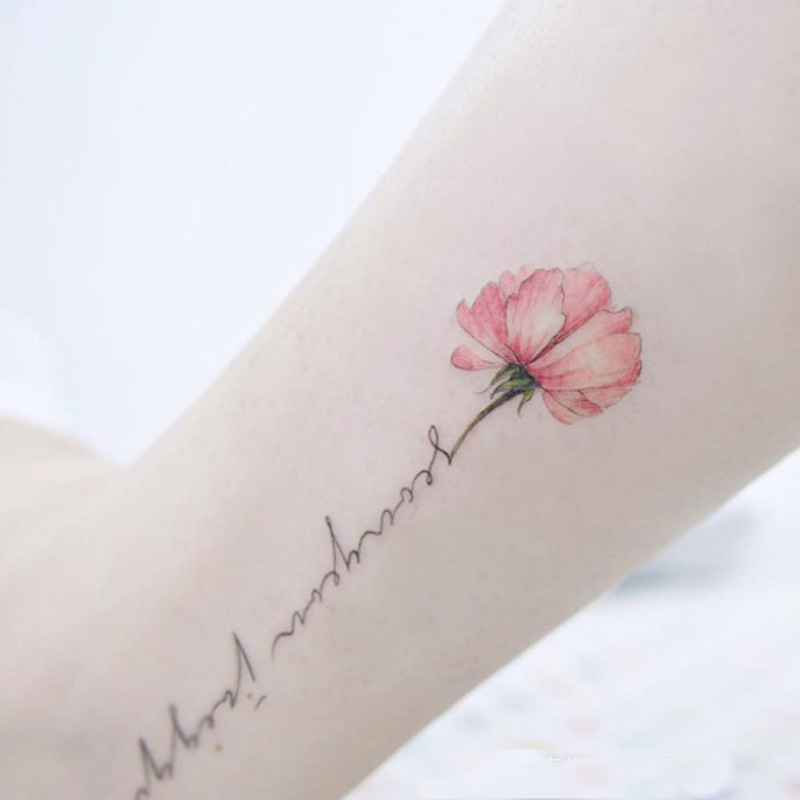 Small Letter Tattoo: South Korea Rose Tattoo Stickers Harajuku Personality