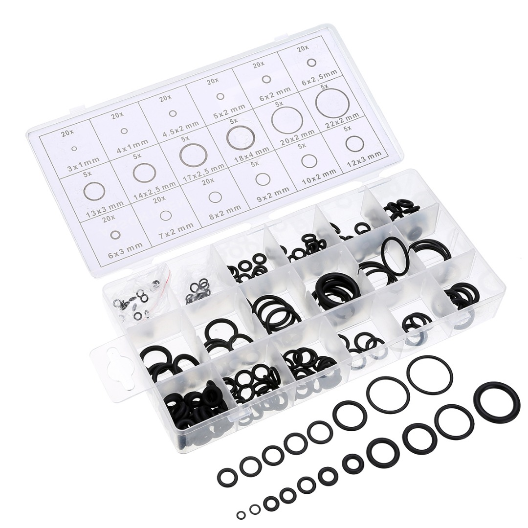 225pcs/box 18 Sizes Black Rubber O-Ring Washer Gasket Sealing Ring Assortment Kit Tool Car Repair Set Rubber Rings