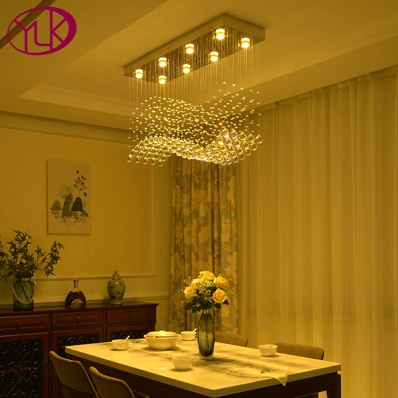 Youlaike Modern Crystal Chandelier For Dining Room Rectangle Wave Design Flush Mount Bar Kitchen Island Lighting Fixtures