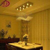Youlaike Modern Crystal Chandelier For Dining Room Rectangle Wave Design Flush Mount Bar Kitchen Island Lighting