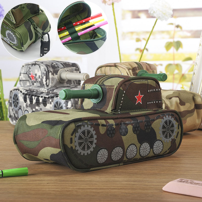 Creative Tank Style Pencil Bag Large Camouflage Canvas Pencil Case With Lock For Boy School Supplies Student big capacity high quality canvas shark double layers pen pencil holder makeup case bag for school student with combination coded lock