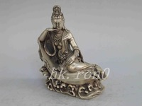 Asian Buddhist Goddess of Mercy silver statue