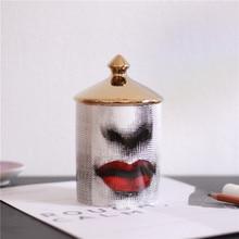 Fornasetti Candle Holder Lina Human Face Jar Candelabra Retro Storage Bin Ceramic Cafts Home Decoration Jewerlly Box