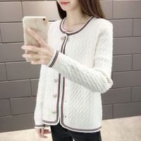 New Style Fashion High Quality Women Knitting Cardigan Stripe Sweater Loose Buttons Long Sleeve Round Collar Cardigans Ladies