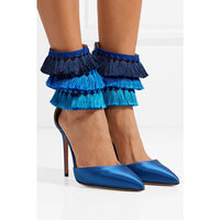 Юнис Choo Ленточки модная открытая Женские туфли лодочки на молнии пикантные острый носок шпильки на высоком каблуке удобные женские туфли б