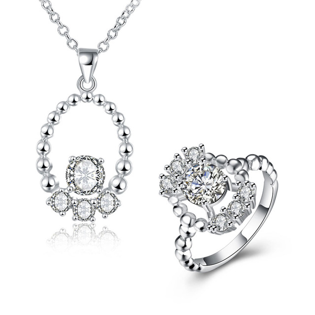 410ab90643547 US $7.8 |Fashion Hollow Design Women AAA+ CZ Diamond Pendant & Necklace &  Rings Jewelry Sets 925 Sterling Silver Girl Birthday Warm Gifts-in Jewelry  ...