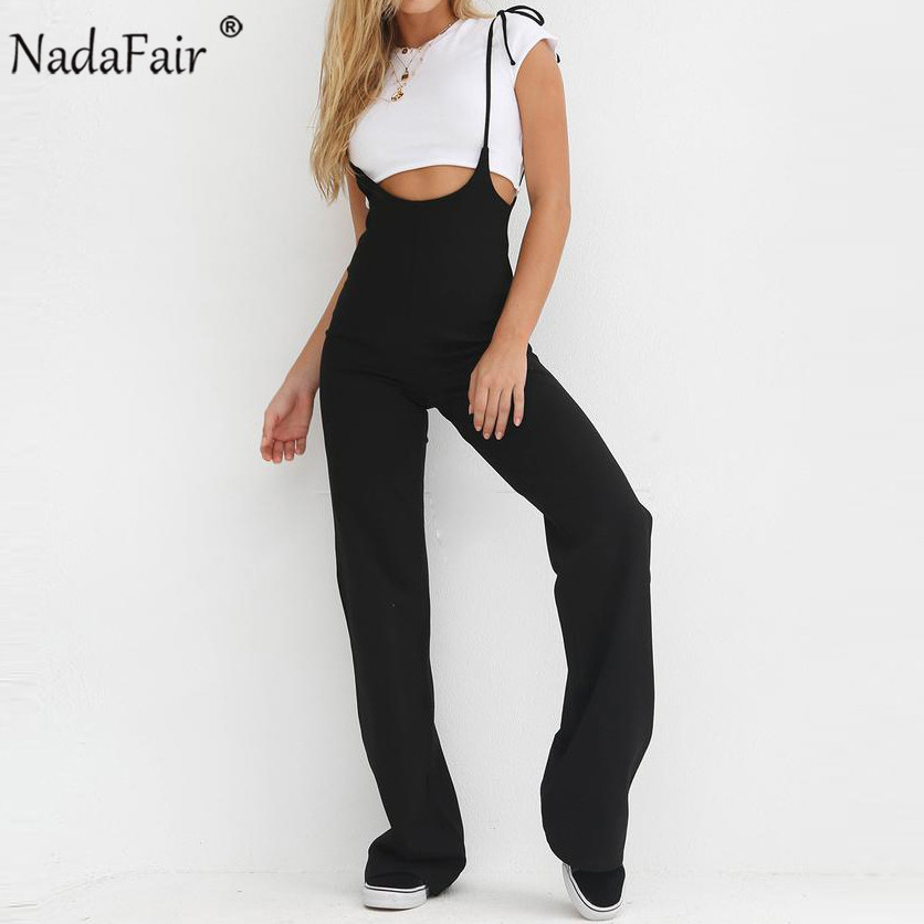 Nadafair new summer strap rompers bow lace up casual sleeveless backless   jumpsuit   high waist long pants for women trousers