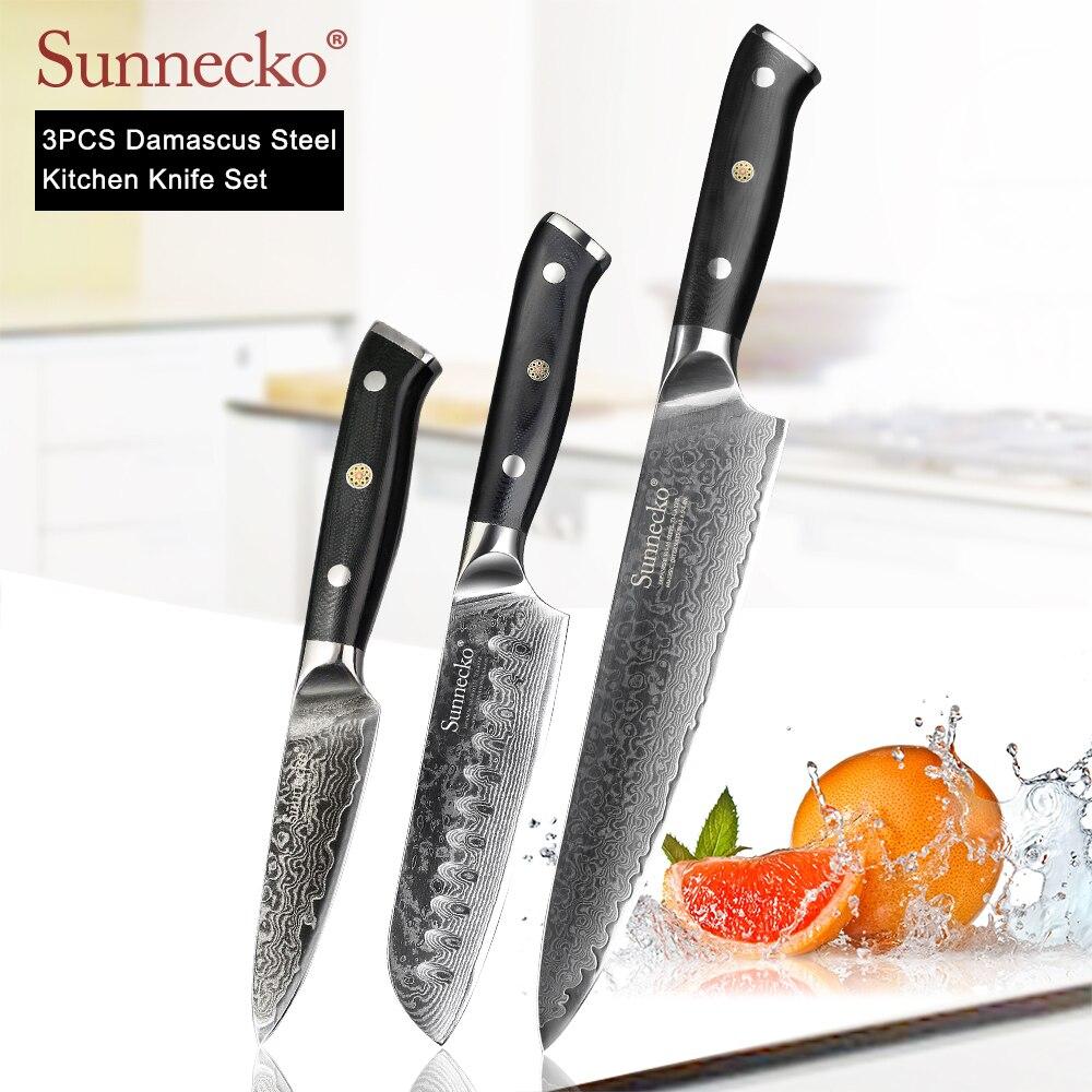 SUNNECKO قسط 8 ''الشيف 5'' Santoku 3.5 ''سكين التقشير دمشق اليابانية VG10 شفرة فولاذية G10 مقبض 3 قطعة المطبخ السكاكين مجموعة-في أطقم سكاكين من المنزل والحديقة على  مجموعة 1