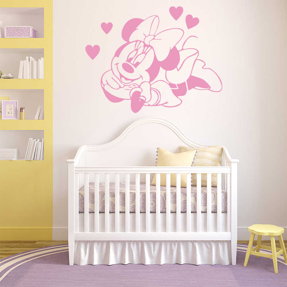 Famille autocollant mural Minnie Mouse maison décor mur Art décalcomanie pour fille chambre vinyle minnie mouse autocollants