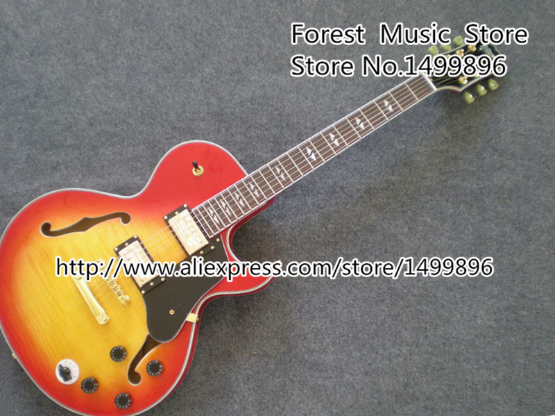 China Custom Shop ES Electrics Jazz Guitar Cherry Sunburst Tiger Flame Single Cut Hollow Body Guitarra Left Handed available new arrival electrics guitar 12 strings cherry sunburst semi hollow maple body for sale