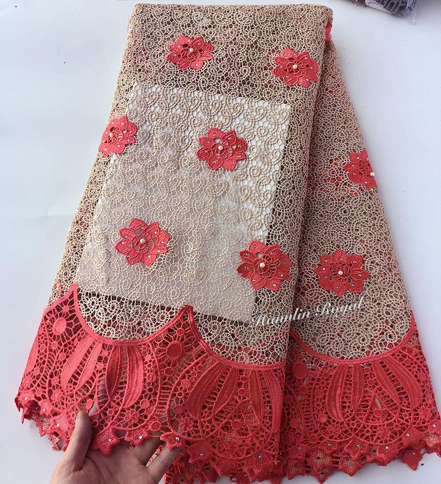 Czarny koral czerwony klasyczny afryki gipiury koronki unikalne przewód koronki tkaniny do szycia odzieży 5 metrów najwyższej jakości gorąca sprzedaż w Koronka od Dom i ogród na  Grupa 3
