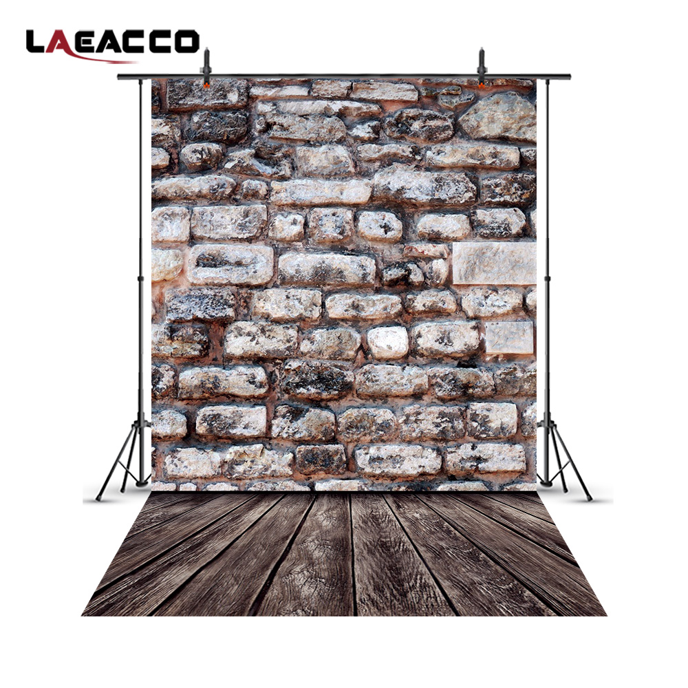 Laeacco Old Stone Brick Wall Wood Floor Baby Children Photography Backgrounds Customized Photographic Backdrops For Photo Studio photography backdrops wood grain adhesion wood brick wall backgrounds for photo studio floor 839
