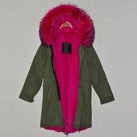 Ücretsiz nakliye maliyeti gül kırmızı uzun stil İtalya marka tasarım faux fur İçinde gerçek yaka kış parka