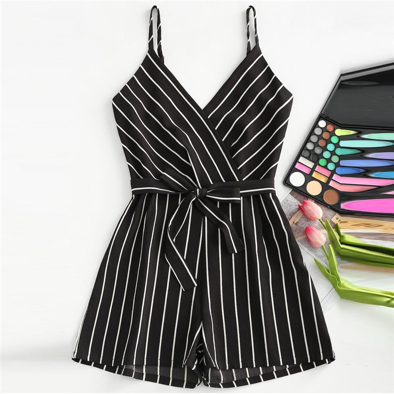 Romper Jumpsuit Short-Playsuits Striped Womens Summer Ladies Sleeveless New Cami Loose