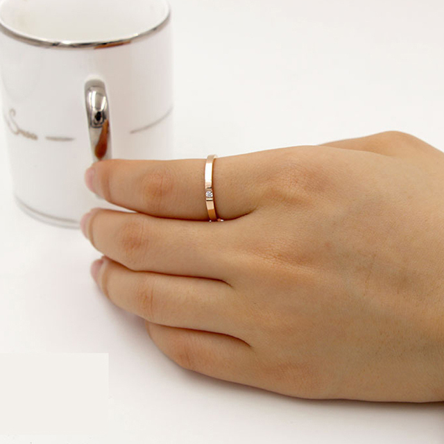 top female ring rose gold color delicate one ring with stone high