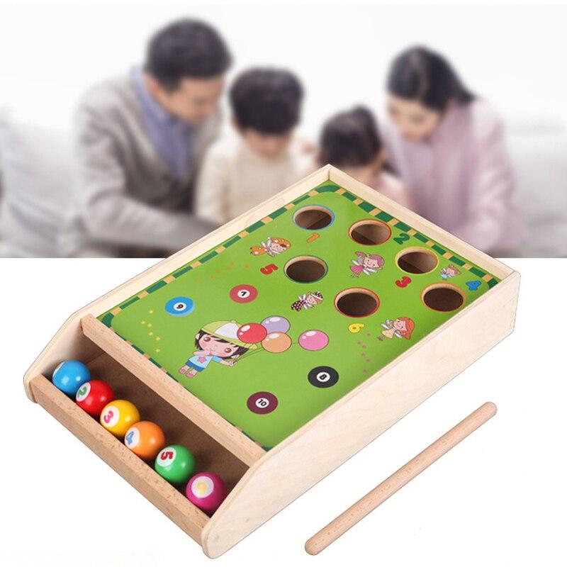 En bois Billard Frappe Battre Boules Montessori Matériaux Éducatifs Jouets Pour Enfants Puzzle Hit Oyuncak Bébé Ping-Pong Table