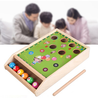 Wooden Billiards Knocks Beat Balls Montessori Materials Educational Toys For Children Puzzle Hit Oyuncak Baby Ping Pong Table