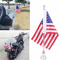 Luggage Rack Vertical Rear Side Mount Flag Pole With American Flag USA For Harley Davidson Honda