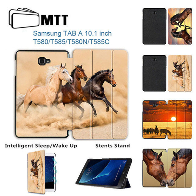 MTT Horse Printed Case For Samsung Galaxy Tab A A6 10.1 inch SM-T580 T585 Smart Cover PU Leather Stand Fold Funda Tablet Case fashion flowers case for samsung galaxy tab a a6 10 1 2016 t580 t585 sm t585 case cover tablet stand pc pu leather shell funda
