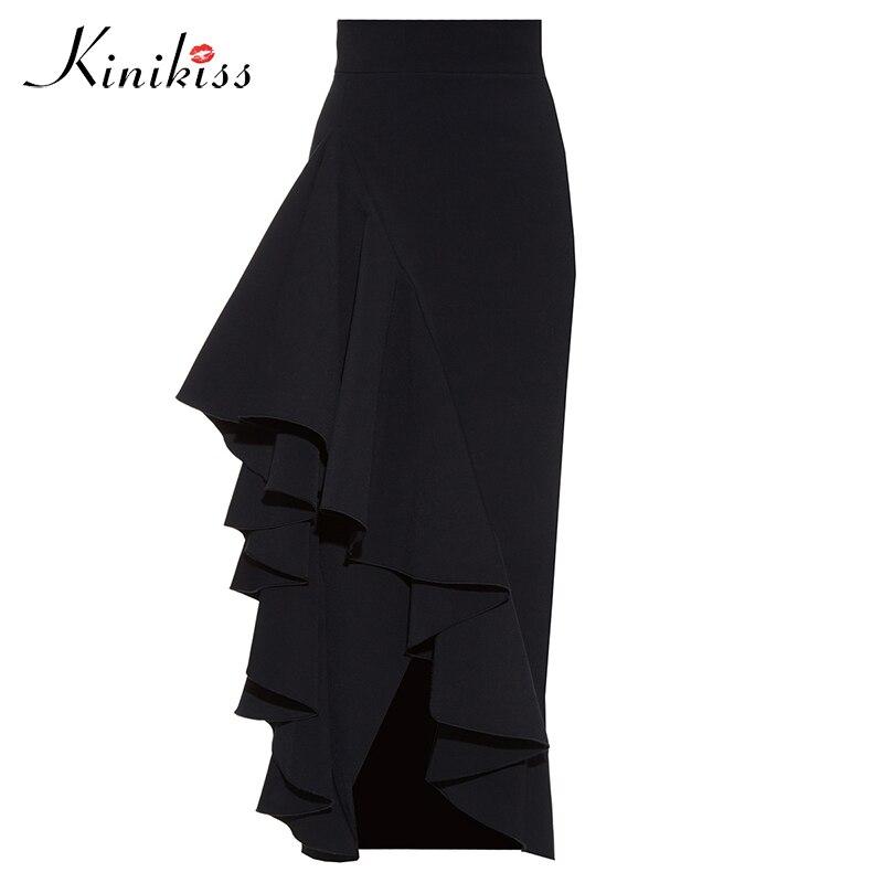 Kinikiss 2017 Women Irregular Ruffle Skirts Black High Waist Falbala Long Skirt Fashion Sexy Elegant Office Lady Skirt Bottom