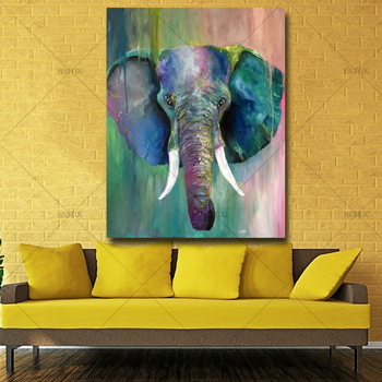 Colorful elephant handpainted Oil Painting Abstract Animal Handmade Picture on Canvas best Gift for Home Decor Wall art picture