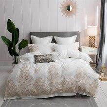 100% Египетский хлопок королевская вышивка белый пододеяльник простыня наволочки queen King Размеры постельное белье роскоши постельные принадлежности