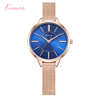 KIMIO Women Crystal Blue Quartz Watches Woman Ladies Simple Stainless Steel Mesh Band Dress Bracelet Wrist