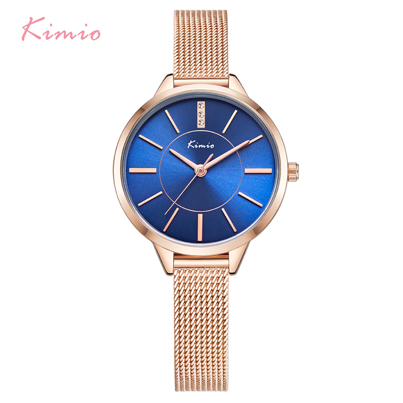 KIMIO Women Crystal Blue Quartz Watches Woman Ladies Simple Stainless Steel Mesh Band Dress Bracelet Wrist Watch Clock With Box kimio brand luxury blue crystal women ladies watch silver steel band dress wacth japan quartz wristwatches