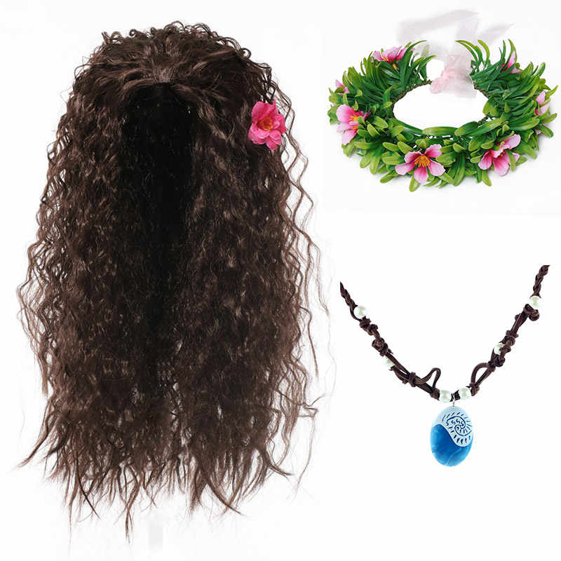 Meisje Moana Halloween Cosplay Party Dress Up Accessoire Kit Moana Pruik Synthetisch Haar Kids Vaiana Bloemen Guirlande Comic Con Hoofddeksels