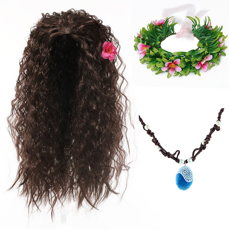 Girl Moana Halloween Cosplay Party Dress Up Accessory Kit Moana Wig Synthetic Hair Kids Vaiana Floral Garland Comic Con Headgear